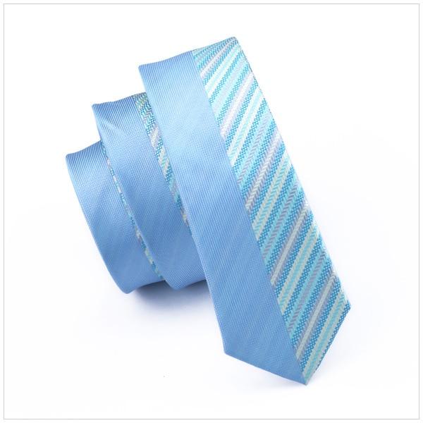 2018 Mode Blau Patchwork Grau Streifen Schlank Dünne Schmale Krawatte Gravata Silk Krawatten Für Männer 5,5 Cm Breite Hochzeitskleid E-258 Jade Weiß