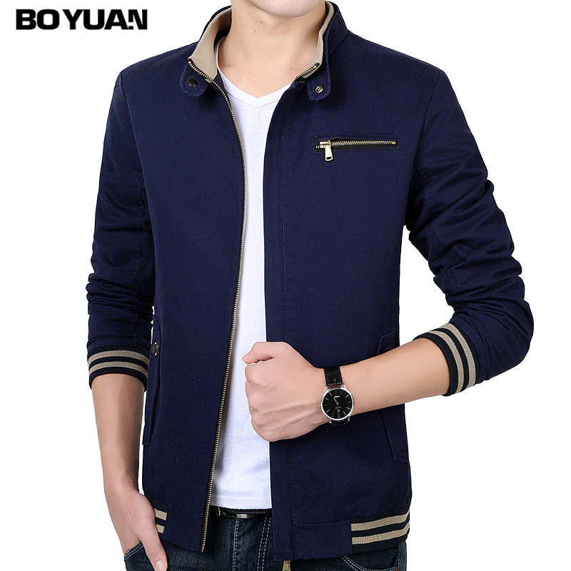 BOYUAN Bomber Jacket Brand Clothing 2017 Aumtum Spring Jacket Men Stand Collar Plus Size M 4XL