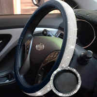 38 cm cobertura de volante para as mulheres de seda gelo strass decoração interior do carro suprimentos cobertura de volante do carro