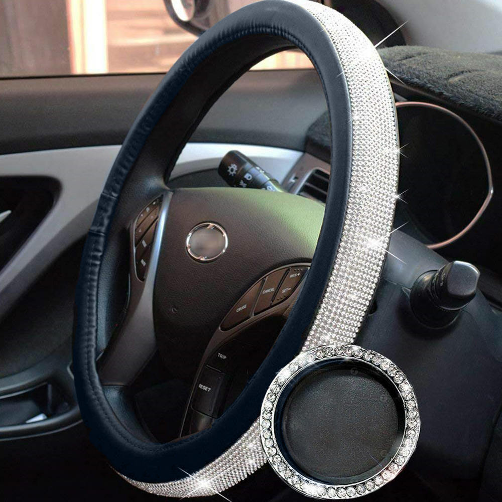 38CM Steering Wheel Cover For Women Ice Silk Rhinestone  Car Interior Decoration Supplies Car Steering Wheel Cover|Steering Covers| |  - title=