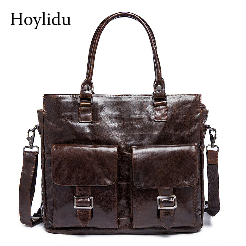 Genuine Leather Men's Business Briefcase Fashion Vintage Luxury Handbags Large Capacity Laptop Shoulder Bags Male Messenger Bag