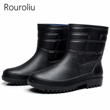 Rouroliu Fashion Comfortable Fishing Shoes Men Waterproof Water Shoes Wellies Anti-Slip Plush Warm Ankle Rainboots RT262