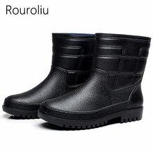 Fashion Comfortable Fishing Shoes Men Waterproof Water Wellies Anti-Slip Plush Warm Ankle Rainboots RT262