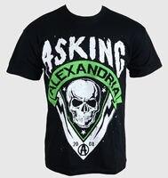 Herren T Shirt Asking Alexandria Skull Shield Green PLASTIC XL