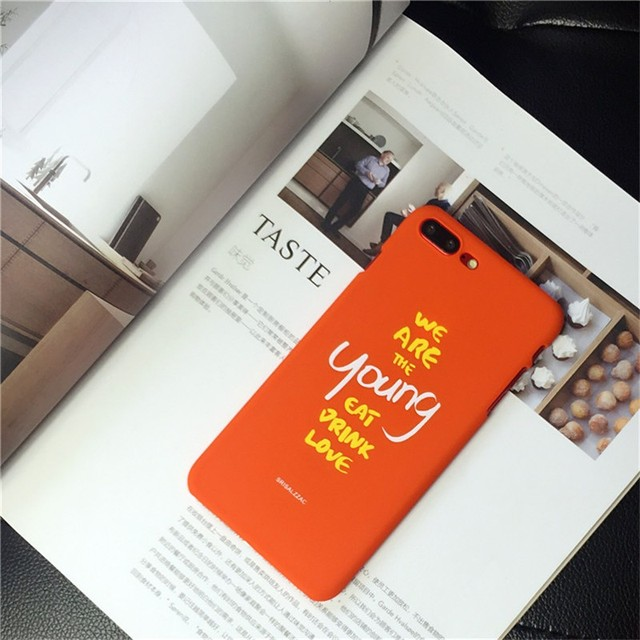 new style f1e7a 137f4 US $2.62 |Mobile Phone Case Trendy Simple Style English Letters Clear  Attitude Orange Hard Shell Cellphone Cover Cases for iPhone 7/8 Plus on ...