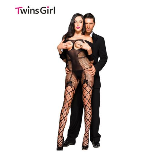 Hot 2017 New Sexy Women Sleepwear Hot  Sexy Open Cup Fishnet Off-shoulder Bodystocking With Bow One Size Fit  S M L  H3159