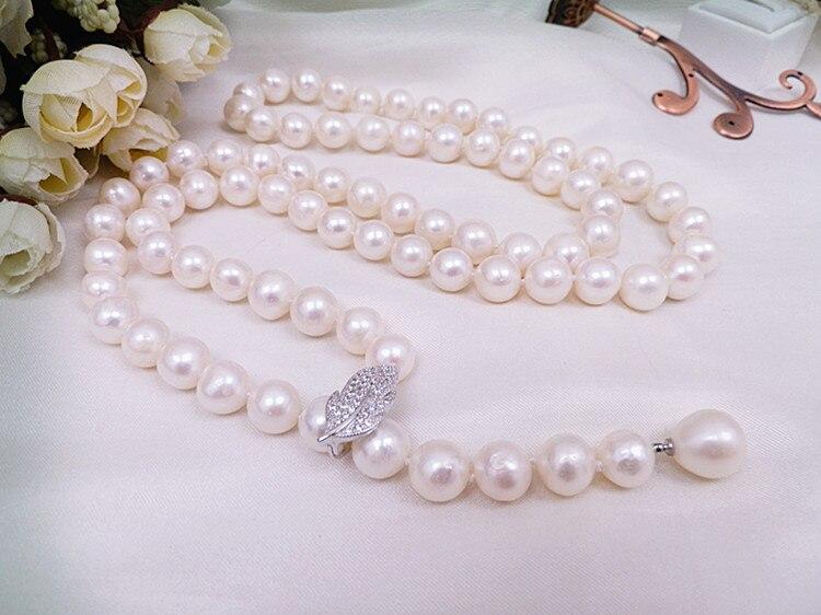 Vendita calda 85 cm 9 10mm perla della catena del maglione micro intarsio zircone collana lunga gioelleria raffinata e alla moda-in Collane girocollo da Gioielli e accessori su  Gruppo 3