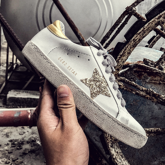 PINSEN Women Shoes Casual Leather Do Old Dirty Shoes Woman Flat Sequins  Star Golden Glitter Goose Trainers Women Sneakers Female 3e6d995a6d52