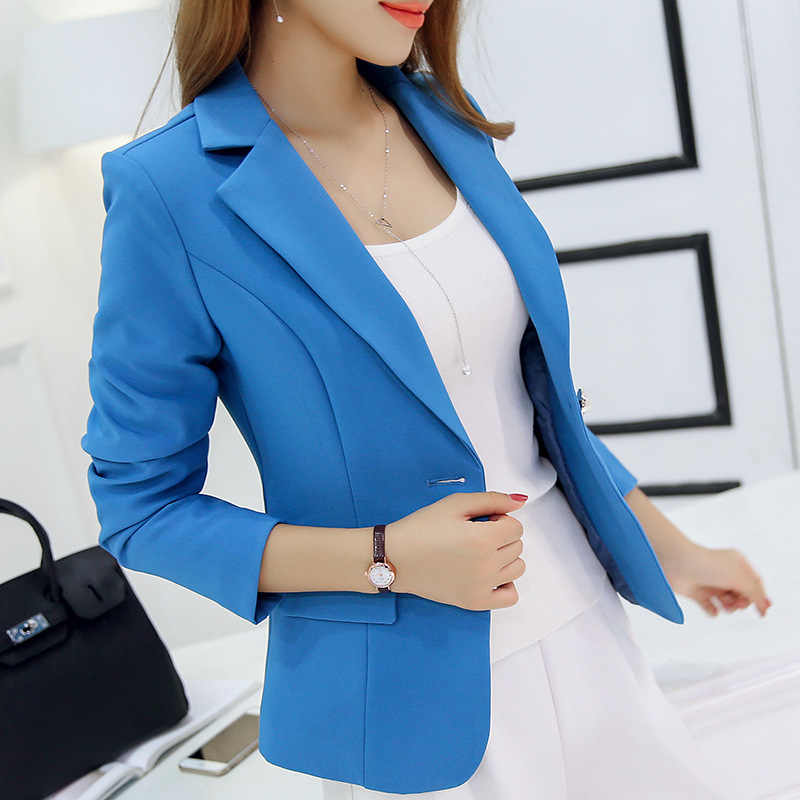... Autumn Women Slim Blazer Coat 2016 New Fashion Casual Jacket Long Sleeve  One Button Suit Ladies ... 243b52bbd