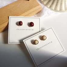 Simple fashion imitation marble grain earrings retro temperament small women jewelry