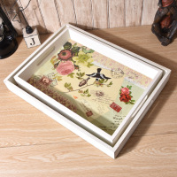 1PC 36X26CM Wood Dinning Bread Breakfast Tray Serving Trays for Dessert Cake Cupcake Fruit Large Size ENU 005