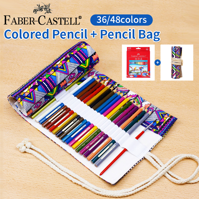 36/48 Colors Faber Castell Non-toxic Colored Pencil +National Embroidery Pencil Bag , lapis de cor School Pencils Art Supplies faber castell 48 60 colors watercolor colored pencils lapis water soluble color pencil school art supplies lapices de colores