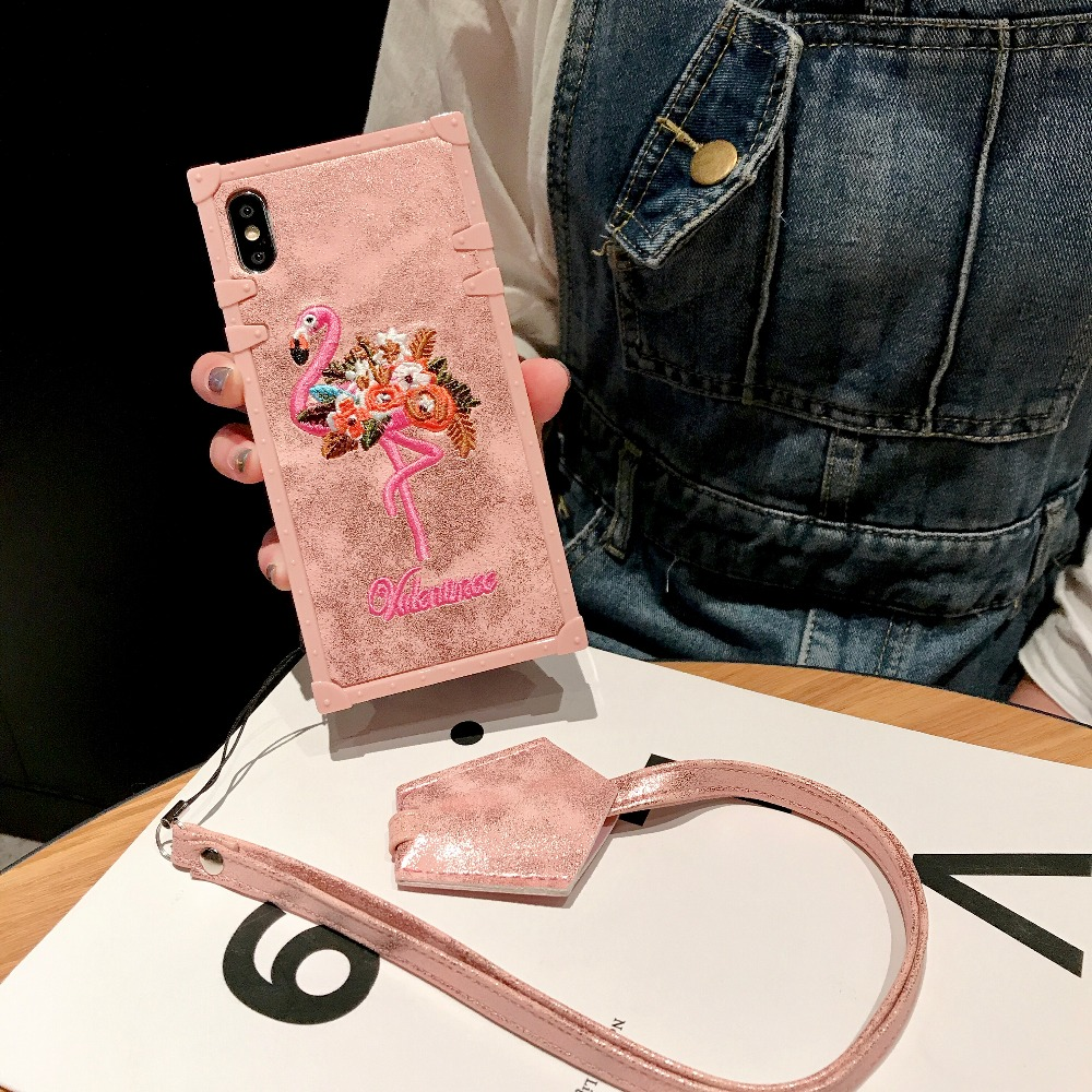 Cases For Huawei P20 Pro P20 Cover 3D Pink Embroidery  (2)