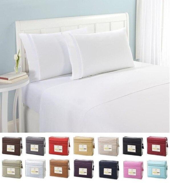 Laiyinsun Bedding Set Fitted Sheet Flat Sheet Pillowcase 3 4pcs Us