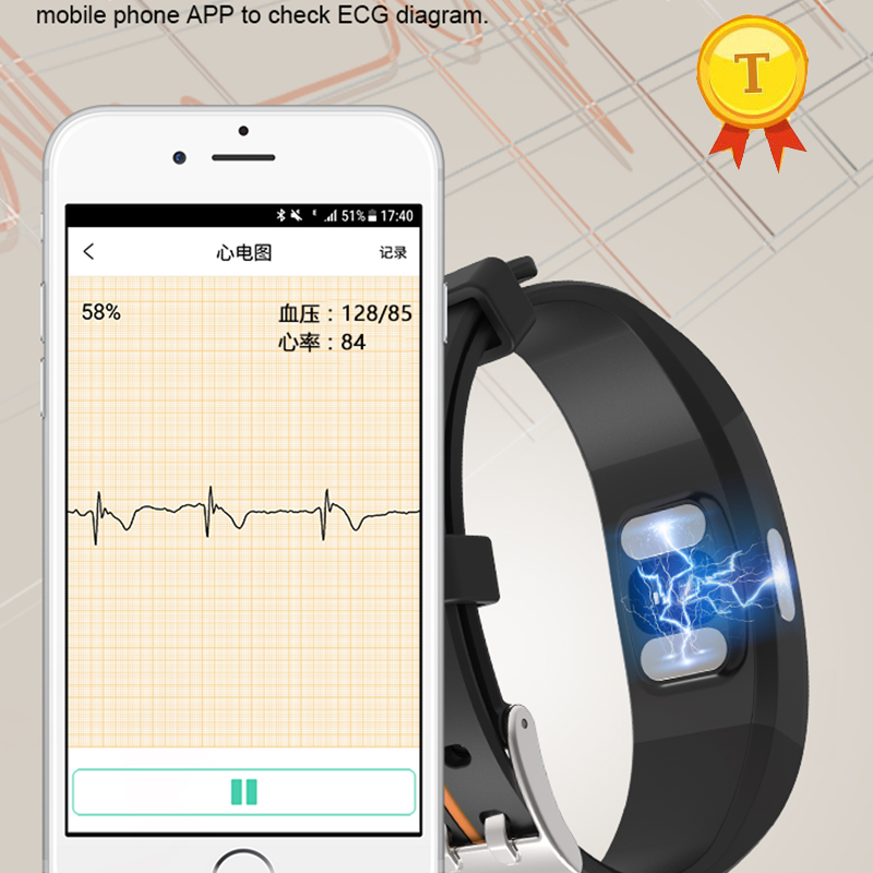 best gift to father mother elders ECG PPG Monitor Blood Pressure wristwatch Real time Heart Rate