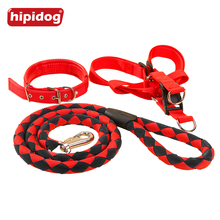 Hipidog Dog Adjustable Heavy Duty Nylon Woven Collar Harness Leash Set for Training Walking Running Large Medium Dogs Pets