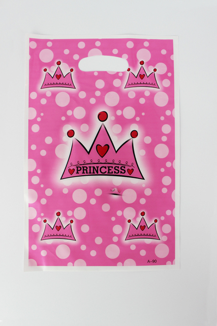 Free Shipping princess crown theme printing plastic hand length handle  bag 68c3cb3c2411