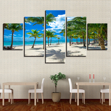 Decor Home Wall Art Modular 5 Pieces HD Printing Palm Tree And Beach Canvas Paintings Summer Vacation Resorts Seascape Pictures