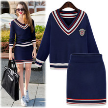 New Spring Autumn Women Sets Fashion Vestidos Casual Plus Size Slim Long Sleeve Knitted Shirt And Skirt Two Piece For Women Suit