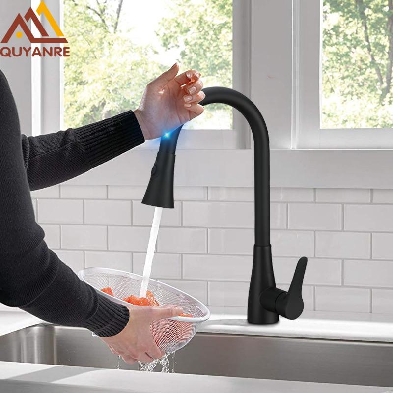 Quyanre Black Pull Out Sensor Kitchen Faucet Sensitive Smart Touch Kitchen Faucet Mixer Tap Touch Sensor Smart Black Kitchen Tap
