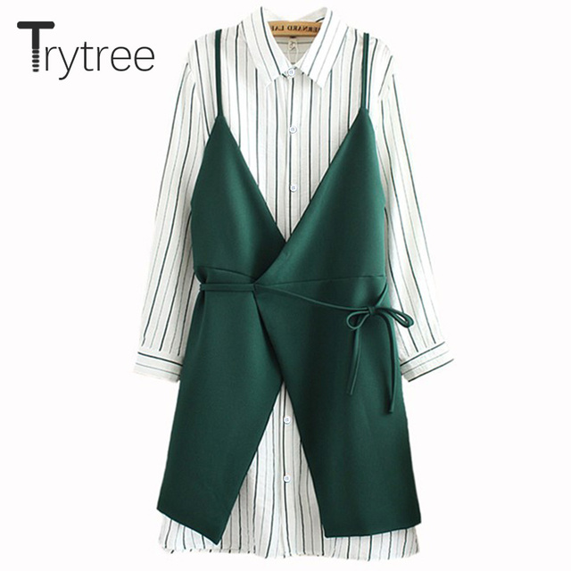 Trytree Women autumn top two piece set New 2018 Casual stripe tops + Dress Top Female Office Suit Set Women Costumes 2 Piece Set