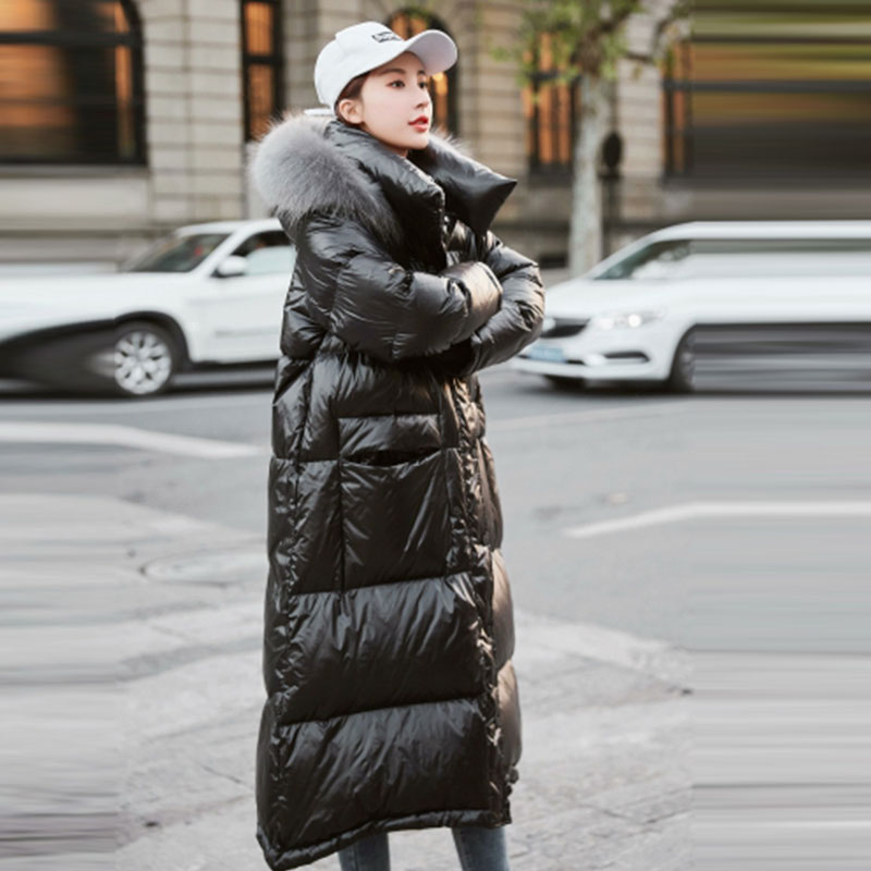 Sottile Di Nuovo Spessore Formato Donna Con Cappotto Lungo Collo Elegante Più  Inverno Fashion Il Imbottiture Cappuccio ... 3f945226da7