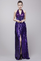 2018 QIBIN New stitching purple halter sleeveless long section of land and banquet stage clothing sexy evening dress L3131