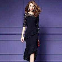 ARiby Women Elegant Dress Black Ball Dress 2019 New Summer Fashion Slimming Horn Cuffs Fishtail O-Neck Lace Splicing Solid Dress leisure style scoop neck sleeveless lace splicing black dress for women