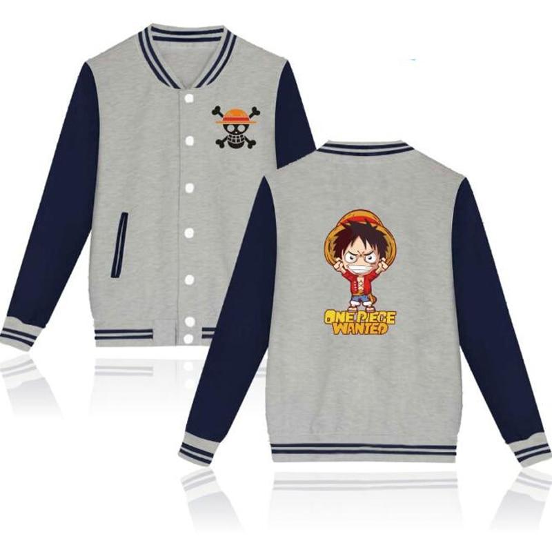 Anime One Piece Baseball Jackets Men Hoodie Sweatshirt Winter Fashion Monkey D Luffy Hiphop Baseball Uniform Cool Tops Outerwear
