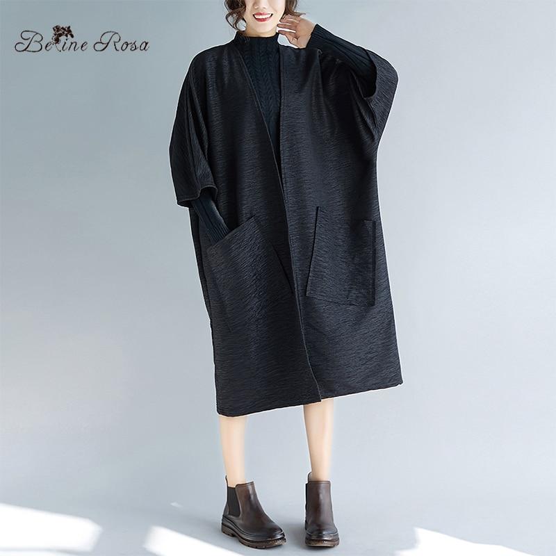 BelineRosa Big Sizes Women   Trench   Open Stitch Autumn Simple Style Pure Color Oversized Women Cardigans XL 2XL 3XL 4XL 72B00033