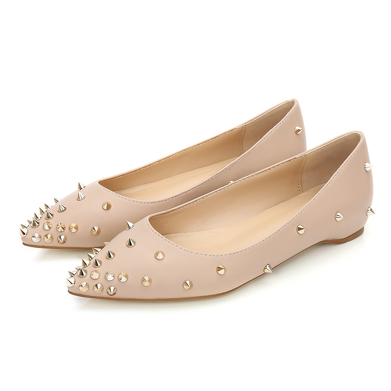 New 2018 Fashion rivets women flats shoes Sexy Pointed toe women low heels shoes lady party casual pu wedding flat shoes Nude odetina fashion women pointed toe rivets loafers 2017 spring