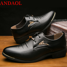 ANDAOL Mens Leather Casual Shoes Top Quality Comfortable Pointed Toe Print Luxury Non-slip Lace-Up Office Business