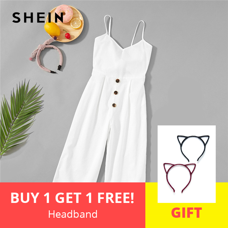 SHEIN White Solid Girls Button Up Front Cami Jumpsuit Children 2019 Spring Fashion Sleeveless Casual Jumpsuits For Kids Girls flap pocket front sleeveless jacket