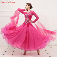 Senior Ballroom Dance Dresses Women New Sexy V Back Standard Waltz Dancing Costume Adult Ballroom Competition Dresses