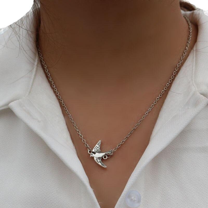 1Pcs Classic Swallows Shape Vintage Pendant Necklaces For Women Fashion Jewelry Animal Birds Chains Nacklace Bijoux ...