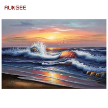 100% Hand Painted Realist Sea Wave Art Oil Painting On Canvas Wall Art Wall Adornment pictures Painting For Live Room Home Decor realist interviewing