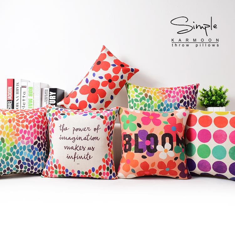 Nordic Color Geometric Pillow , Circle Floral Cushion , Linen Pillowcase,sofa Cushions Home Decorative Pillows
