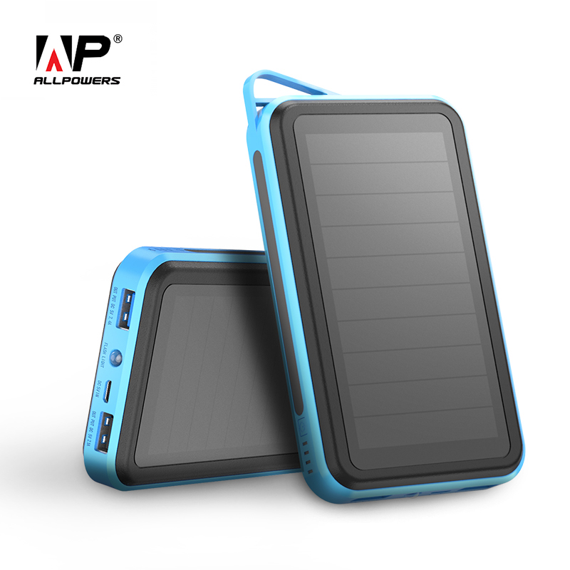 ALLPOWERS Solar Power Bank 15000mAh Dual USB Portable Power Charger Solar Panel for iPhone iPad Samsung Smart Phones Outdoors ALLPOWERS Solar Power Bank 15000mAh Dual USB Portable Power Charger Solar Panel for iPhone iPad Samsung Smart Phones Outdoors