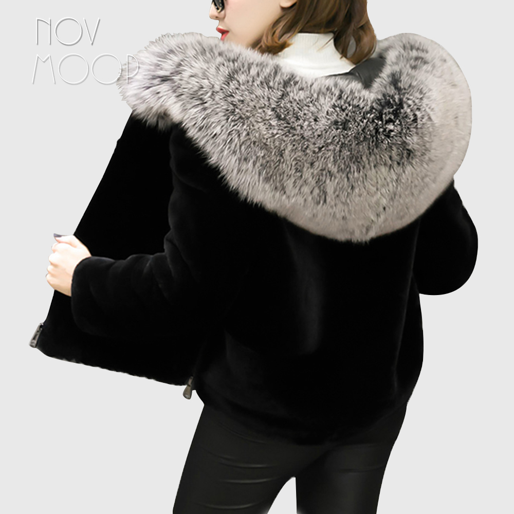 Camel black genuine leather natural sheep shearing wool fur coat women real fox fur hooded lambskin wool jackets cropped LT1896
