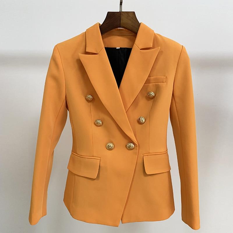 HIGH STREET Newest 2019 Baroque Designer Blazer Women s Slim Fitting Lion Buttons Double Breasted Blazer