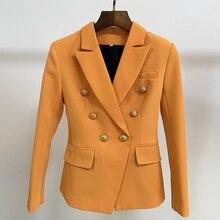 HIGH STREET Neueste 2020 Barock Designer Blazer frauen Nehmen Fitting Lion Tasten Zweireiher Blazer Jacke Orange