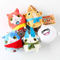 7CM 5pcs/lot Japanese Anime Yo-kai Watch Plush Toys  Kawaii Yokai Watch Jibanyan Stuffed Doll With Ring