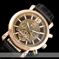 Nice Gold Tone Mens Automatic Mechanical Luxury Multi Function Watch Allochroic Glass Leather