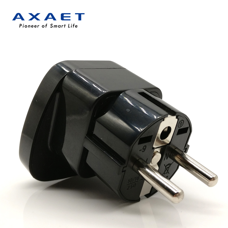 AXAET Universal socket plug Travel UK US AU CN to EU plug multi Power electric adapter extension Charger Converter black 1 pcs