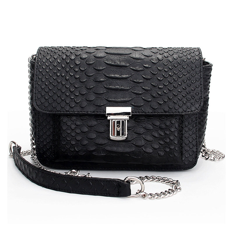 Women's new leather fashion chain buckle leather packet serpentine cross-section shoulder Messenger small square bag qiaobao 2018 new korean version of the first layer of women s leather packet messenger bag female shoulder diagonal cross bag