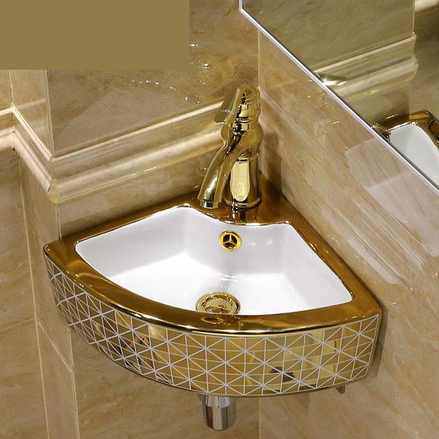Mini Triangle Ceramic Wash Basin Corner Wall Hung Washbasin Balcony Toilet Simple Sink Bathroom Sinks