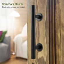 Heavy Duty Door Handle Carbon Steel Door Pull For Sliding Barn Door Closet Wooden Gate Hardware Accessories Black High Quality 2 pcs 11 inch sliding barn door handle vintage heavy duty pull set for gate kitchen furniture cabinet closet drawer screws inclu