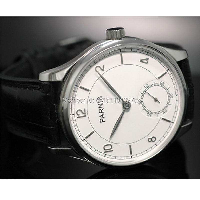 44mm parnis white dial ST 6498 Mechanical manual wind mens watch P29 цена и фото