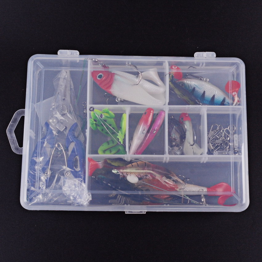 33pcs Soft Bait Fishing Lures Kit With Mixed Soft Baits Minnow Lures Frog Lures VIB Jig Head Soft Shrimp With Accessories Box y0018 wholesale ray frog sets playing blackfish bait lures bait floating frog bait fishing