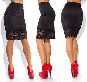 Image 3 - Saia feminina formal de cintura alta e renda, saia lápis curta sexy transparente de esticar vermelha e preta